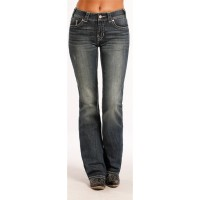 Rock & Roll Cowgirl Denim Damen Jeans 8476, mid rise, boot cut with embroidery and rhinestones. Front view..