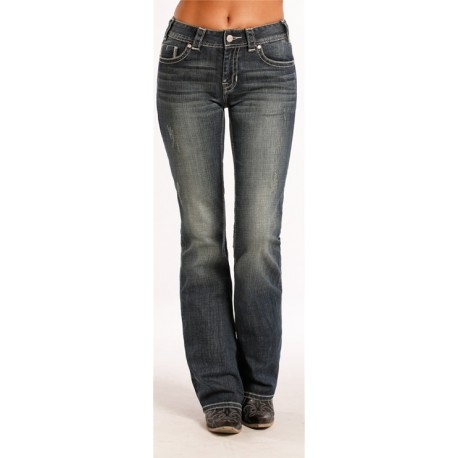 c9ce5b6e5fc Rock   Roll Cowgirl Mid-Rise Boot Cut Jeans 8476 - Tack n Ride