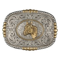 Heirloom Gold Pioneer Buckle with Horsehead
