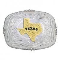 Rounded Square Silver Western Belt Buckle with Texas State