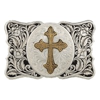 Two-Tone LeatherCut Gentleman's Cameo Buckle with Flurry Cross