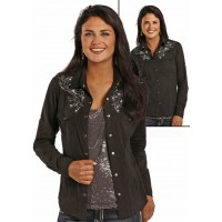 Panhandle Slim Langarmbluse Red Label schwarz mit Strass J2S8256