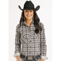 Rough Stock Ladies' Western Shirt plaid brown/grey/white R4S8040