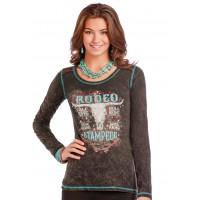 Panhandle Damen Langarm T-Shirt Rodeo Stampede L8T9448