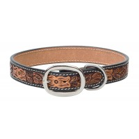 Floral Tooled Dog Collar