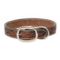 Carved Chestnut Dog Collar
