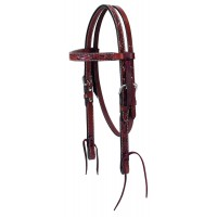 Turqoise Cross PONY Carved Chestnut Headstall 45-0146