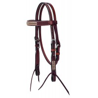 Turquoise Cross Pony Headstall with Rawhide 45-0147