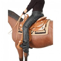 Smooth Leather Chaps Fransen schwarz
