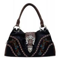 Handtasche Schwarz Floral bestickt