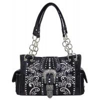 Handtasche Schwarz Floral