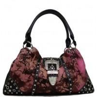 Handtasche Floral Print Pink mit Strasssteinen