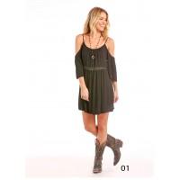 Cold Shoulder Crinkle Dress