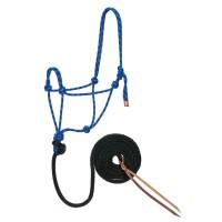 Diamond Braid Rope Halter and Lead blue