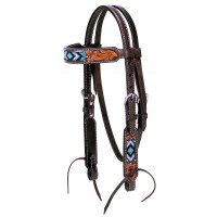 Turquoise Cross Turquoise Beaded Pony Browband Headstall