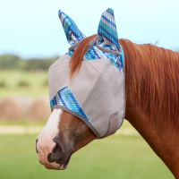 Crusader Fly Mask w. Ears Blue Zigzag