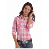 Westernbluse Pink&Weiss Ombre