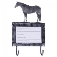 Stall Card Holder with Hooks Horse Black Silver