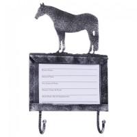 Stallkartenhalter mit Haken Pferd Schwarz Silber