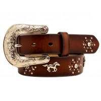 Ariat Girls Brown Leather Horse Concho Belt
