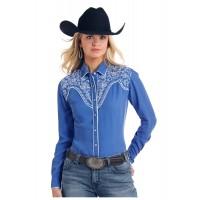 Western Shirt Cobalt Embroidered 2173
