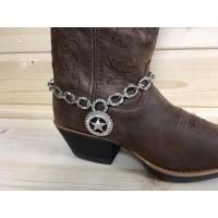 Stiefelkette mit Silber-Stern & Strasssteinen