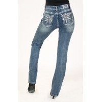 Feather Embroidered Bootcut Jeans