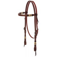 Basketweave Bridle Leather Headstall with Rawhide