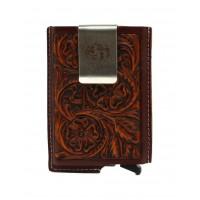 Smart Wallet Tooled Brown