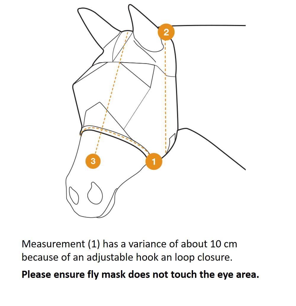 Cashel Crusader Fly Mask Sizing Diagram