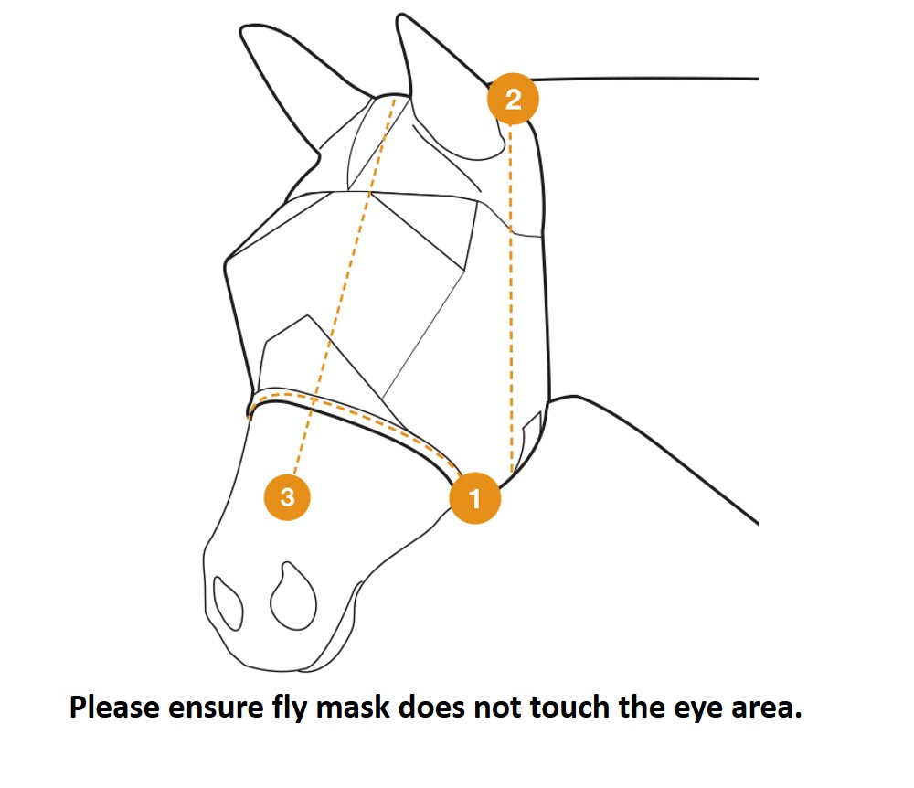 Cashel Crusader Fly Mask Sizing Diagram Reduced